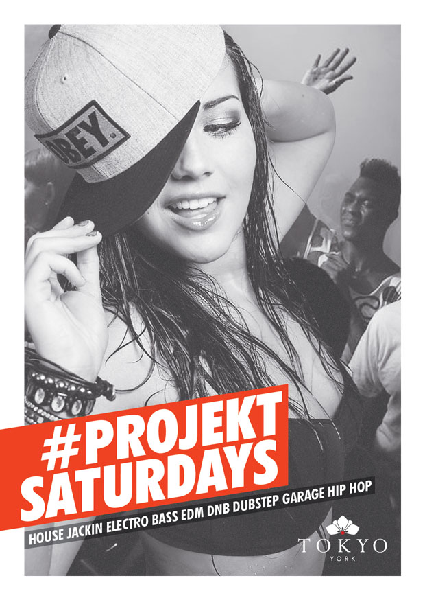 A6 Flyer design for Project Saturdays at Tokyo York