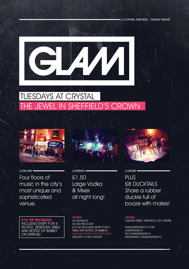 flyer design glam sheffield