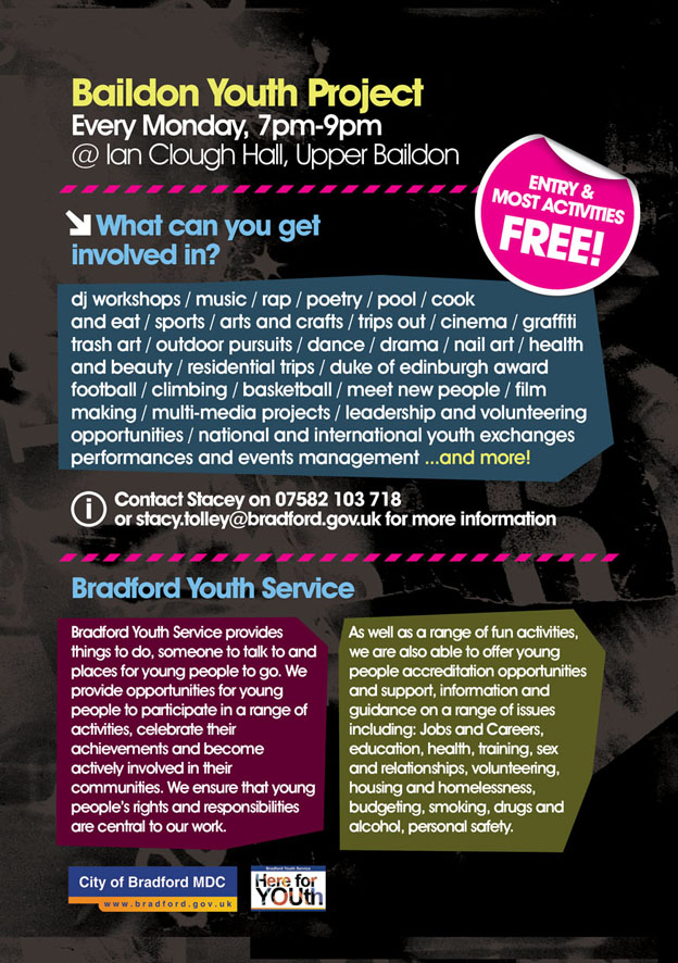 flyer design baildon youth project zip marketing solutions